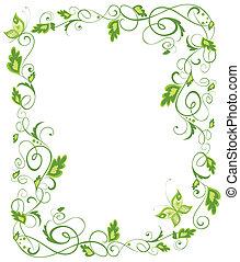 kwiatowy, zielony, brzeg