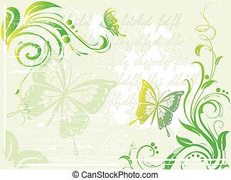 kwiatowy, zielony, grunge, tło, element