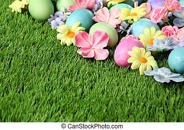 kwiaty, barwny, jaja, tło, trawa, wielkanoc