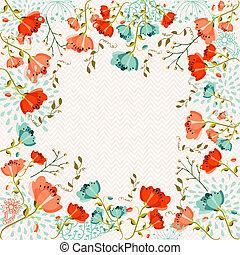 kwiaty, barwny, powitanie karta