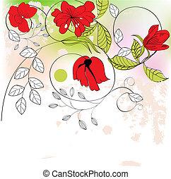 kwiaty, barwny, tło, czerwony