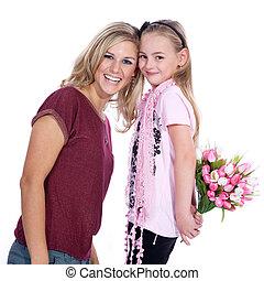 kwiaty, córka