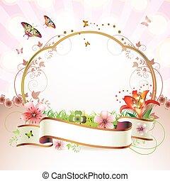 kwiaty, chorągiew