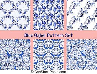 kwiaty, etniczny, tła, porcelana, patterns., styl, błękitny, painting., ptaszki, komplet, seamless