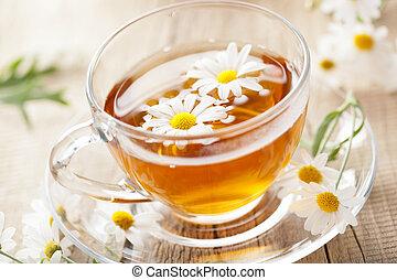 kwiaty, filiżanka herbaty, chamomile, ziołowy