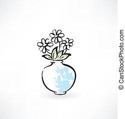 kwiaty, grunge, ikona, wazon