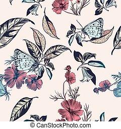 kwiaty, ilustracja, kwiatowy, kosmos, wektor, ręka, ...