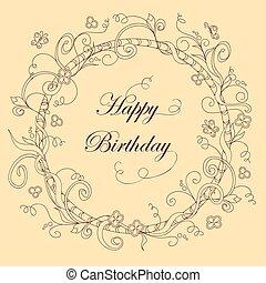 kwiaty, karta, urodziny, doodle