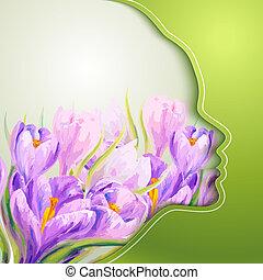 kwiaty, kobieta, młody, piękny