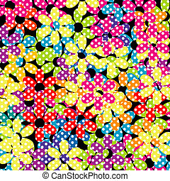 kwiaty, kropkowany, tło