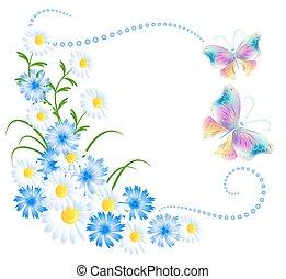 kwiaty, motyle, ozdoba