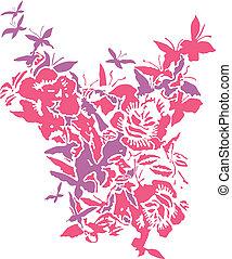 kwiaty, motyle
