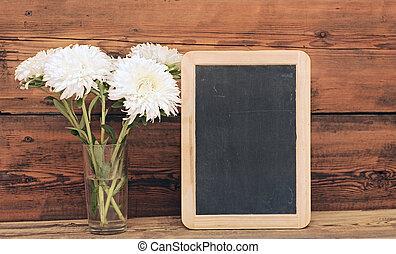 kwiaty, na, drewniany, tło