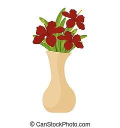kwiaty, odizolowany, wazon