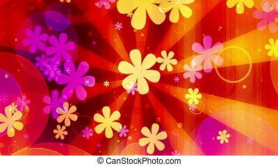 kwiaty, pętla, jasny, retro