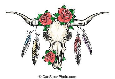 kwiaty, pierze, czaszka, byk