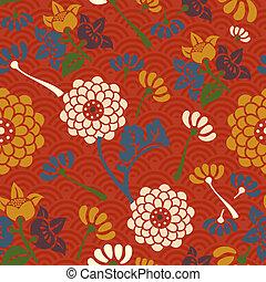 kwiaty, próbka, orientalny, seamless