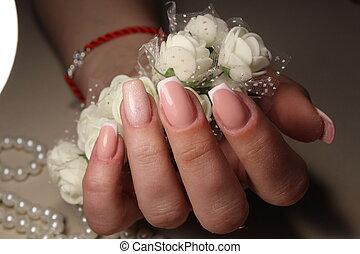 kwiaty, projektować, francuszczyzna manicure