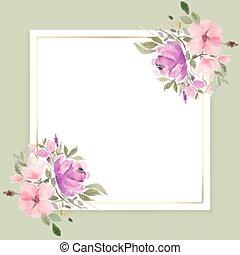 kwiaty, przestrzeń, projektować, tekst, akwarela, ułożyć
