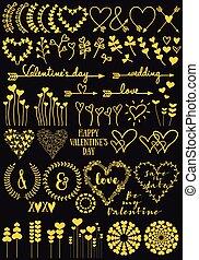 kwiaty, ręka, rysunki, serce, złoty, wektor