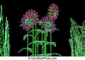 kwiaty, robiony, oświetlenie, boże narodzenie, girlanda