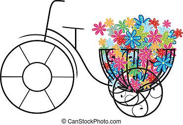 kwiaty, rower