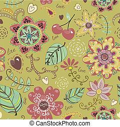 kwiaty, seamless, struktura