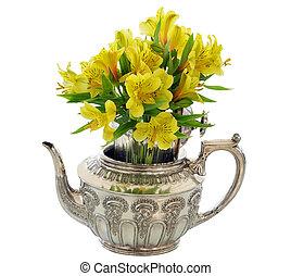 kwiaty, srebro, grono, żółty, imbryk