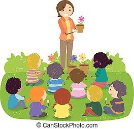 kwiaty, stickman, nauczyciel, ilustracja, dzieciaki
