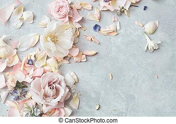 kwiaty, szary, tło, skład