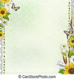 kwiaty, tło, lato, set), ułożyć, (1