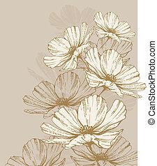 kwiaty, tło, rozkwiecony