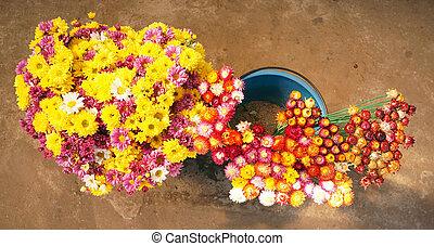 kwiaty, targ