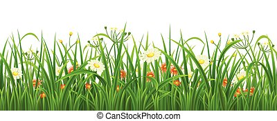 kwiaty, trawa, seamless