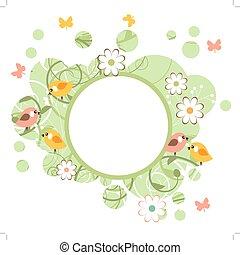 kwiaty, ułożyć, okrągły, ptaszki