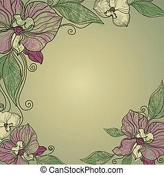 kwiaty, ułożyć, rocznik wina, wektor