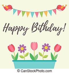 kwiaty, urodziny, ptaszki, karta