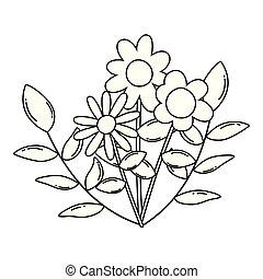 kwiaty, wektor, projektować, odizolowany, ilustracja