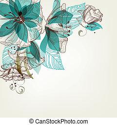 kwiaty, wektor, retro, ilustracja