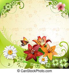 kwiaty, wiosna, tło