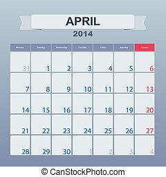 kwiecień, kalendarz, monthly., 2014, harmonogram