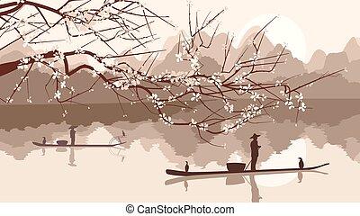 kwitnąc, drzewo, wędkarski, boats.