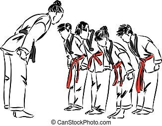 kwondo, vector, clase, estudiantes, tae, ilustración