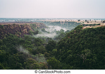 Kyambura Gorge in Queen Elisabeth National Park, a Foggy Rainforest Valley, Valley of Apes in Uganda, Africa