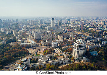Kyiv capital city of Ukraine. Aerial view.