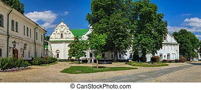 Kyiv, Ukraine 07.11.2020.  Kyivo-Pecherska Lavra and Monastery of the caves in Kyiv, Ukraine, on a sunny summer day