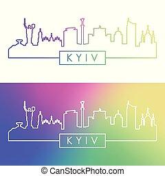 Kyiv skyline. Colorful linear style.
