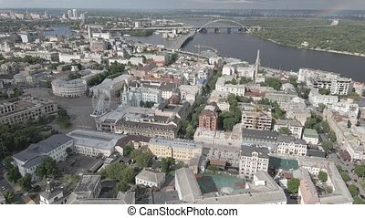 Kyiv, Ukraine. Aerial view. Slow motion, flat, gray - Kyiv, ...