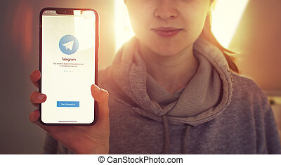 KYIV, UKRAINE-JANUARY, 2020: Telegram on Smartphone Screen. Social Application Concept