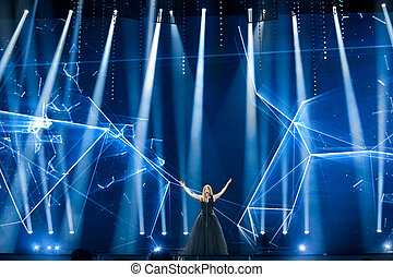 KYIV, UKRAINE - MAY 08, 2017: Blanche from Belgium at the first semi-final rehearsal during Eurovision Song Contest, in Kyiv, Ukraine